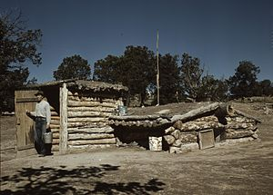 Pie Town, New Mexico - Homesteader with dugout house in Pie Town, 1940 photograph by Russell Lee.