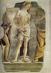 Pietro Perugino: San Sebastian and fragments of the figures of San Rocco and San Pietro.