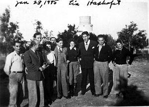 Arthur Koestler - January 1945, Kibbutz Ein HaShofet, Koestler is 5th from the right