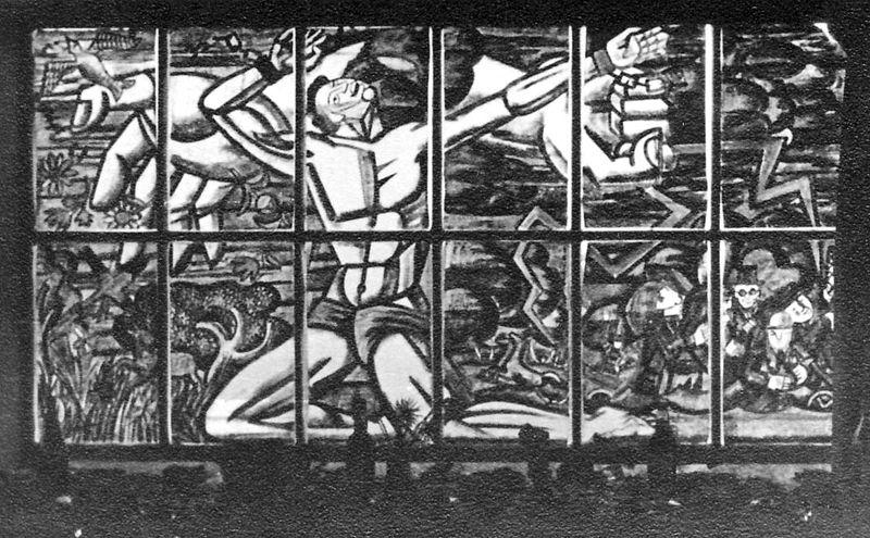 גן-שמואל-תמונה בחלון חדר האכל 1950