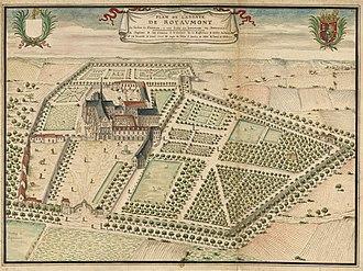 Royaumont Abbey - Image: Plan de l'abbaye de Royaumont (Louis Boudan, vers 1700)