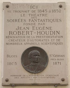 Jean Eugène Robert-Houdin - Commemorative plaque, 11 rue de Valois in Paris, where one could experience the Soirées fantastiques of Robert-Houdin