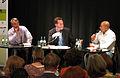 Podium- Eshkol Nevo, Arne Schneider (Moderation), Arye Sharuz Shalicar (7152303951).jpg