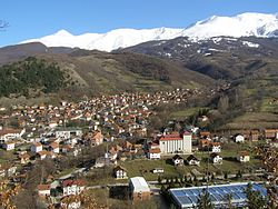 Ski resort Brezovica and city of Štrpce