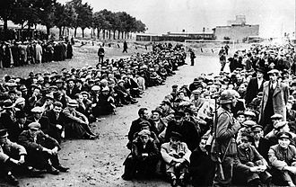 Reichsgau Danzig-West Prussia - Polish nationals rounded up during the ethnic cleansing of Gdynia. September 1939