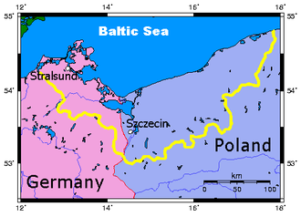 History of Pomerania (1933–1945) - Outline of Pomerania (yellow) superimposed on modern Germany (red) and Poland (blue)