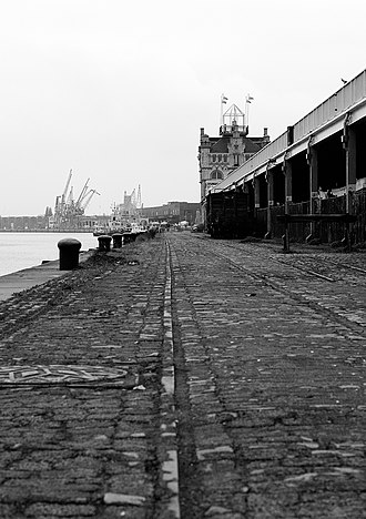 Port of Antwerp - Part of Antwerp's old waterfront looking north to the Noorderterras café building
