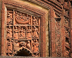 Portions of Top arch panels of Siva temple of Dutta family at Mankar situated in Purba Bardhaman district.jpg