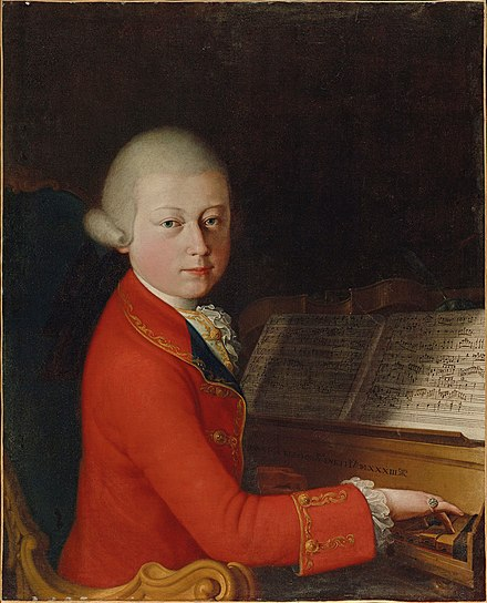 Mozart aged 14 in January 1770 (School of Verona, attributed to Giambettino Cignaroli) Portrait of Wolfgang Amadeus Mozart at the age of 13 in Verona, 1770.jpg