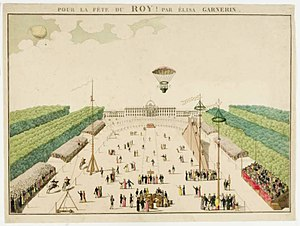 Élisa Garnerin - Poster for a balloon trial and parachute jump by Élisa, possibly in 1815