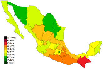 Effects of NAFTA on Mexico - This image shows the percentage of people living in poverty as of 2012 on a state-by-state basis. Consistent with internal economic migration patterns, poverty is more concentrated in regions farther away from the U.S. border.