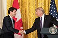Justin Trudeau and Donald Trump shaking hands