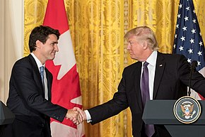 Prime Minister Justin Trudeau and President Donald Trump meet in  Washington, February 2017.