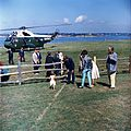 President Kennedy with John Jr. after arriving at Hammersmith Farm in Rhode Island, August 1962.jpg