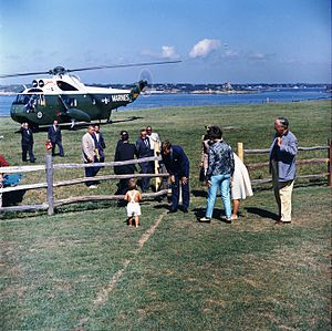 Hammersmith Farm - Image: President Kennedy with John Jr. after arriving at Hammersmith Farm in Rhode Island, August 1962