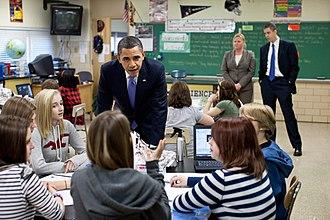 Parkville, Maryland - Former president Barak Obama at Parkville Middle School, February 14, 2011