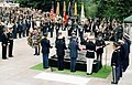 President Reagan during interment ceremony for Unknown Serviceman of Vietnam Era at Tomb of Unknowns, Arlington National Cemetery, May 28, 1984.jpg