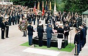 President Reagan during interment ceremony for Unknown Serviceman of Vietnam Era at Tomb of Unknowns, Arlington National Cemetery, May 28, 1984