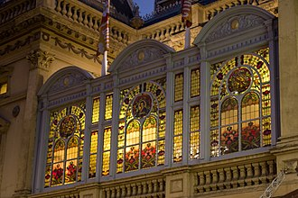 Princess Theatre (Melbourne) - Stained glass window on the Princess Theatre exterior.