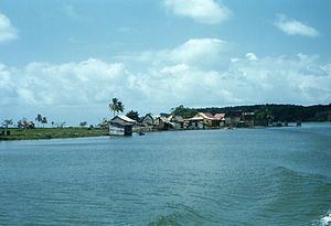 Prinzapolka - Town of Prinzapolka town viewed from the Prinazpolka River near its mouth on the Caribbean Sea