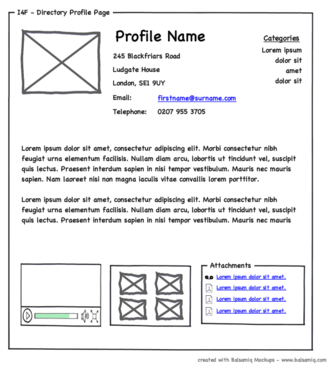Website wireframe - A wireframe document for a person profile view