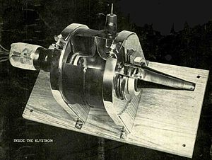 "Klystron - The first prototype klystron, manufactured by Westinghouse in 1940. Part of the tube is cut away to show the internal construction.  On the left are the cathode and accelerating anode, which create the electron beam. In the center between the wooden supports is the drift tube, surrounded by the two donut-shaped cavity resonators, the ""buncher"" and the ""catcher"". The output terminal is visible at top. On the right is the cone shaped collector anode, which absorbs the electrons.  It could generate 200 W of power at 40 centimeters (750 MHz) with 50% efficiency."
