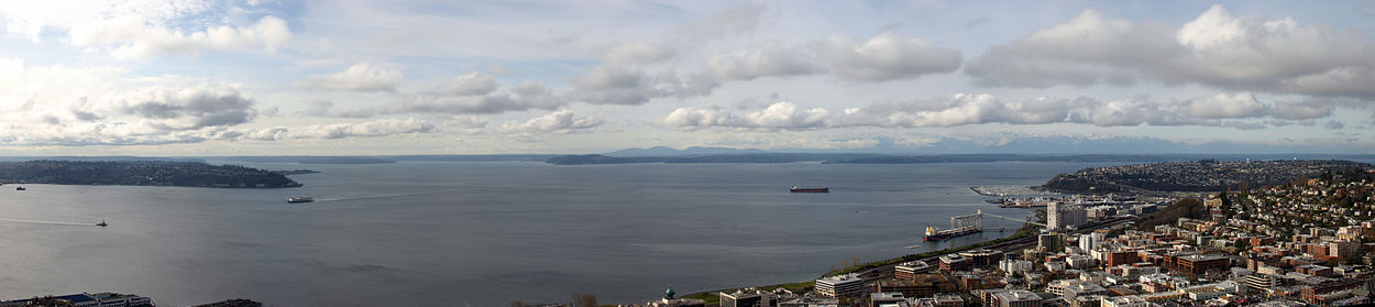 Puget sound wikipedia view northwest from the space needle overlooking left to right elliott bay duwamish head puget sound and restoration point sciox Choice Image