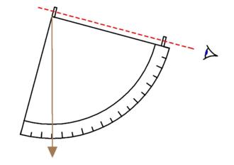 Quadrant (instrument) - Geometric quadrant with plumb bob.