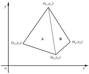 Shoelace formula - Image: Quadrilateral area JCB