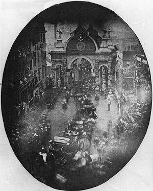 Victoria Bridge, Manchester - Queen Victoria passing over the bridge in 1851