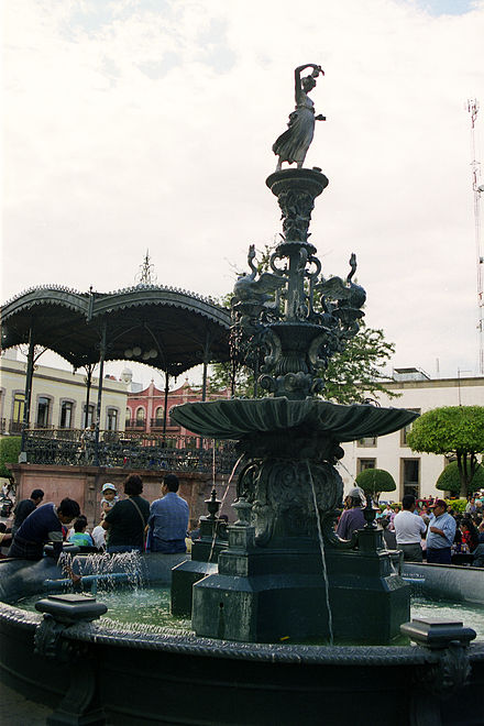 A fountain in Queretaro zocalo designed by Gustav Eiffel Queretaro Zocalo Fountain.jpg