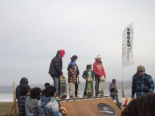 There was a skate ramp, where local skaters could play. In the picture, from left to right, local skaters Demetrio Vidueira, Matías Herman, and Jacob Soto. Image: Diego Grez.