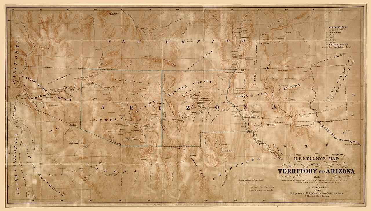 Map Of Arizona In 1800.File R P Kelley S Map Of The Territory Of Arizona Loc 2008621510