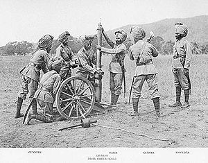 Regiment of Artillery - A mountain artillery crew from the British Indian Army demonstrating assembly of the RML 2.5 inch Mountain Gun, ca 1895