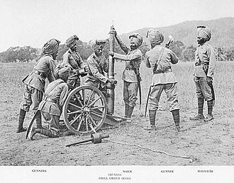 RML 2.5-inch mountain gun - Sikh gunners assembling the gun, circa. 1895