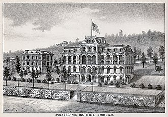 History of Rensselaer Polytechnic Institute - Engraving of RPI in 1876