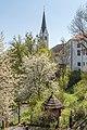 Radovljica Trubarjeva ulica pogled na cerkev sv Petra 10042017 7397.jpg