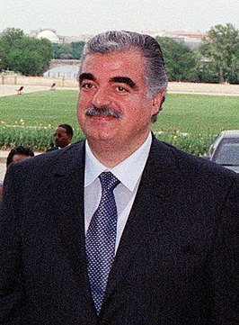 Rafik Hariri in de Verenigde Staten in april 2001.