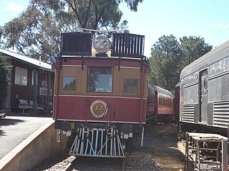 Canberra Railway Museum - CPH railmotor no. 37 at the museum platform next to a modern stainless steel car used on the ARHS ACT Division's long-haul tours