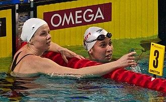 Ranomi Kromowidjojo - Ranomi Kromowidjojo (right) and Britta Steffen (left) during the European short course championships 2010 in Eindhoven, Netherlands.