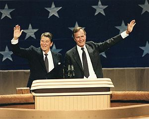 United States presidential election, 1984 - President Ronald Reagan and Vice President George H. W. Bush at the 1984 Republican National Convention in Dallas, Texas