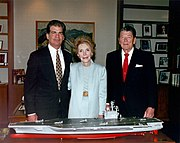 The Reagans with a model of the USS Ronald Reagan, May 1996