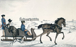Red River Colony - Governor of Red River, Andrew Bulger, driving his family on the frozen Red River in a horse cariole with Fort Garry in the background (1822-23)