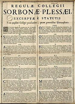 Regulæ collegii Sorbonæ-Plessæi, excerptæ è statutis tam ejusdem collegii peculiaribus, quam generalibus universitatis.jpg