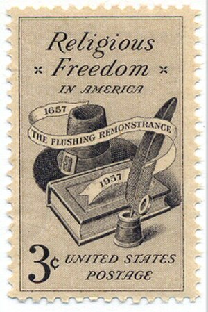 Freedom of religion - A U.S. Postage stamp commemorating religious freedom and the Flushing Remonstrance.