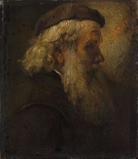 Rembrandt - Head of an old bearded man in beret, seen in profile.jpg