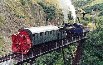 Furka Cogwheel Steam Railway - Rotary snowplow at the Steffenbach bridge