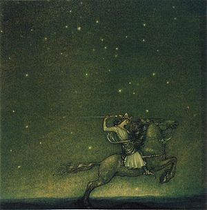 "Helena Nyblom - Illustration, by John Bauer, to Helena Nyblom's fairy tale ""The Ring""."