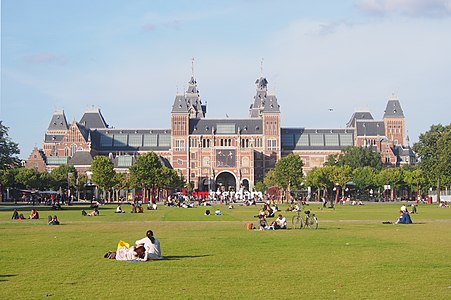 View of Rijksmuseum from Museumplein, Amsterdam.