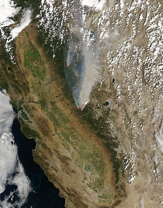 Rim Fire - Satellite image of the Rim Fire, on August 23, 2013 (The American Fire is also visible to the north)